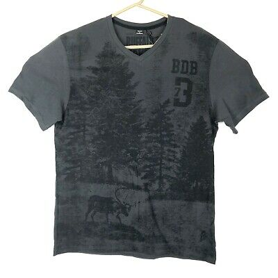 Buffalo David Bitton Mens T Shirt Gray Black V Neck Nature Deer Size XL NWT