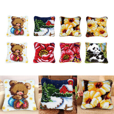 Animal Flower Latch Hook Rug Kits DIY Material Pillow Cushion Cover Making