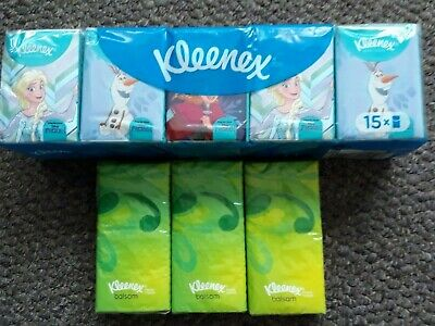 18 Packets Kleenex Pocket Tissues Frozen & Balsam - Travel Handbag Packets