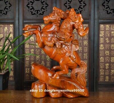 Rosewood Wood Hand Carved Ride Horse Dragon Guan Gong Guanyu Warrior sculpture