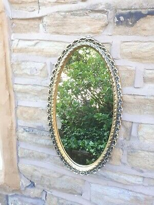 Vintage Retro Gold Gilt Oval Mirror Wall Hanging Framed Golden Antique Style