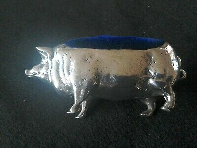 Lovely Large Silver Plated Pig ,Pin Cushion.