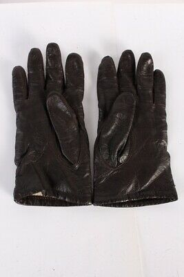 Vintage Leather Gloves  Fashion Design Fleece Lined Size 7 Black - G71