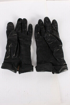 Vintage Leather Gloves  Classy Designer Fleece Lined Womens  Black - G68