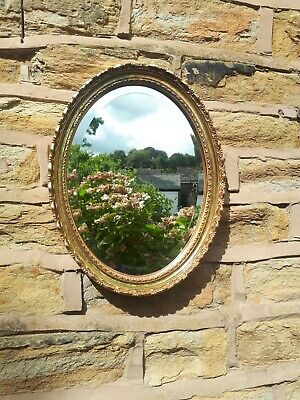 Antique Style Gold Oval Wall Mirror Gilt Gilded Frame Framed Bevelled Vintage