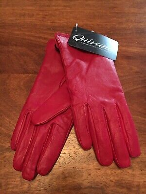 Ladies red leather gloves, new tags on, size 6.5
