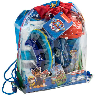 Official Paw Patrol Beach Set Towel Plastic Bottle Kids Childrens Holiday Travel