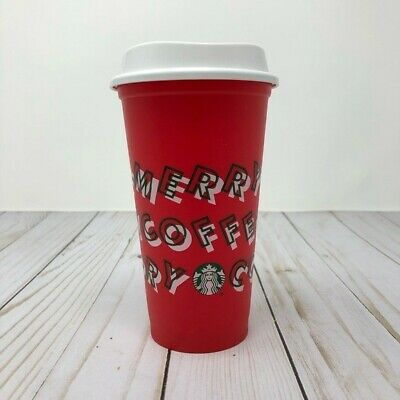 Starbucks Holiday 2019 Red Reusable Hot Cup Grande 16 oz Plastic Merry Coffee