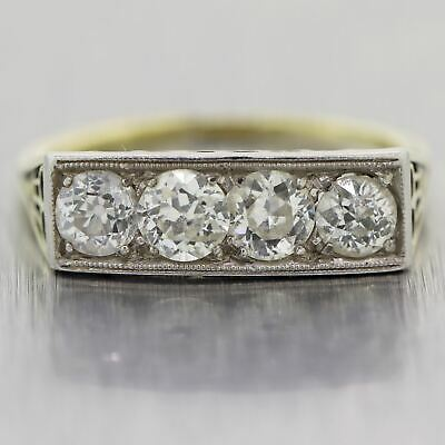 1920's Antique Art Deco Platinum & 14k Yellow Gold 1ctw Diamond Band Ring