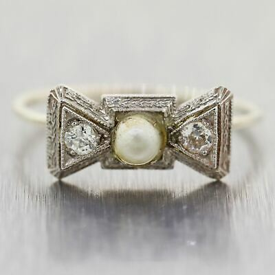 1930's Antique Art Deco Platinum & 14k White Gold 0.10ctw Diamond & Pearl Ring