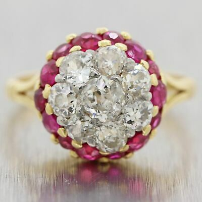 1930's Antique Art Deco 18k Yellow Gold Ruby & Diamond Cluster Ring