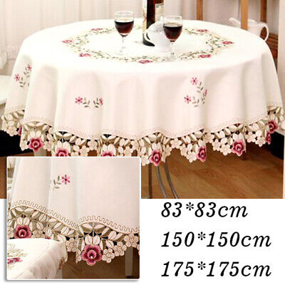 US Embroidered Tablecloth Floral Lace Round Table Cover Dining Hotel Banquet Hot