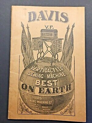 DAVIS VERTICAL SEWING MACHINE ILLUSTRATED DIRECTIONS Operating  w/prices ca.1900