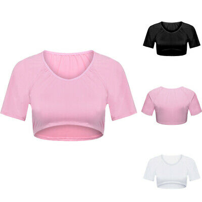 Women's Girls Sheer Mesh See-Through Sleeveless Crop Tops Casual T Shirt Blouse
