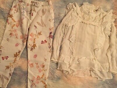 Lovely Cream Next Floral Trousers And River Island Frilly Top Age 4-5