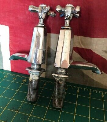 Vintage Art Deco Chrome plated brass  Heavy Bath Sink Taps Octex Reclaimed Bf