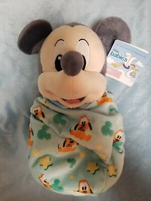"Disney Parks Mickey Mouse Baby Plush with Blanket Pouch 10"" Babies NEW ITEM"