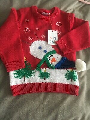 BNWT Baby Boys/Girls Unisex MINI CLUB Christmas Jumper Red Age 1.5-2 Yrs