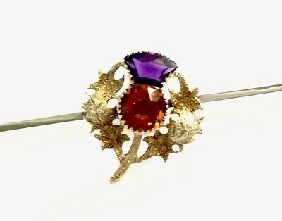 Antique Large 18CT GOLD Scottish Thistle AMETHYST CITRINE Brooch GIFT BOXED