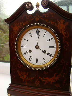 Superb French 14 day inlaid with angels etc mahogany mantel clock W G Shaw Paris