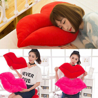 3843 Pink Red Cushion Sofa Bedroom Comfortable Lip Shaped Pillow