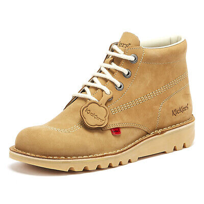 Kickers Kick Hi Mens Tan Brown Nubuck Boots Lace Up Leather Ankle Shoes