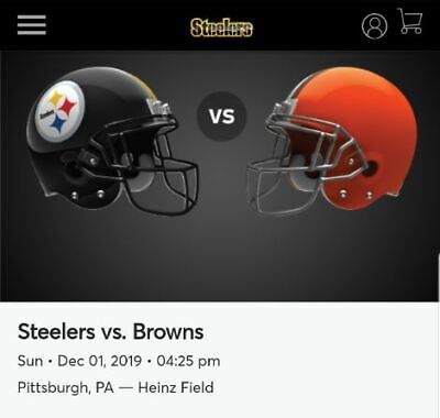 (2) Steelers vs Browns Tickets Lower Level Aisle Section 219