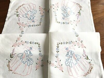 """Vintage Hand Embroidered Off White Linen """" Crinoline Lady """" Tablecloth 32x34"""""""
