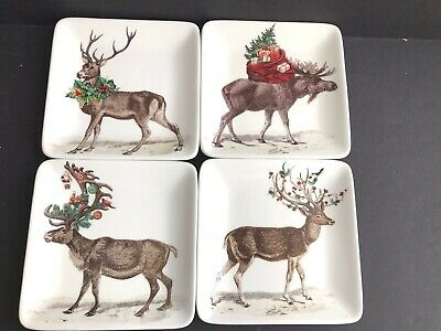 POTTERY BARN Silly Stag Reindeer SQUARE Appetizer Plates SET OF 4