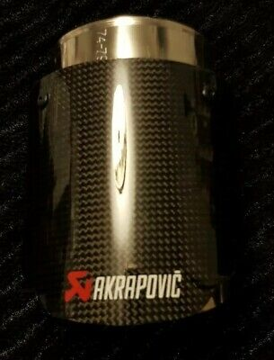 "AKRAPOVIC UNIVERSAL GLOSS CARBON EXHAUST TIP ""80MM"" 3inch"