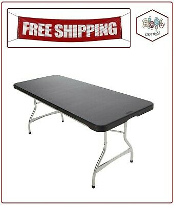 Lifetime 6' Commercial Grade Stacking Folding Table, Black Color