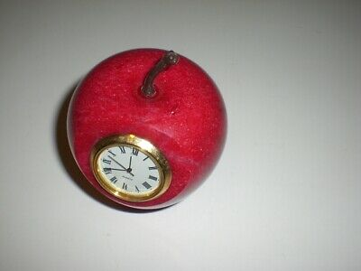 Nice Vintage Preowned Red Marble Stone Apple Paperweight Clock USED FEW NICKS