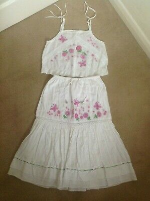 Gorgeous Girls Monsoon White Embroidered 100% Cotton Skirt & Matching Top 8-10