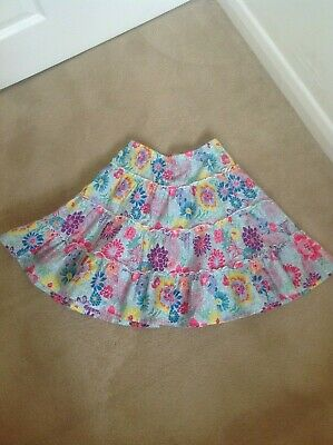 Gorgeous Girls Monsoon 100% Cotton Multi-Coloured Floral Design Skirt Age 7-8
