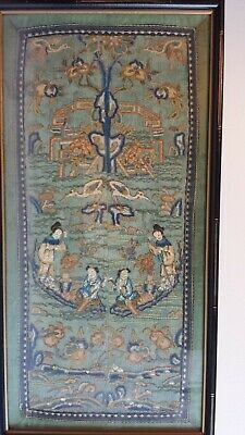 Antique Fine Chinese Embroidery Forbidden Stitch Panel Framed