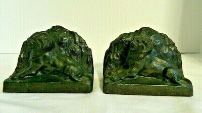 Antique Rare Pair Of 1930's Lion Of Belfort Bookends Marked EJC1000 Germany