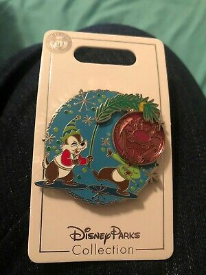 Disney Parks 2019 Christmas Holiday Chip and Dale Tree Ornament Pin