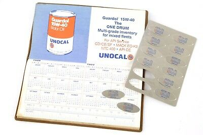 Union 76 Unocal Motor Oil Can Vintage Calendar Metal Oil Change Tags Gas Station