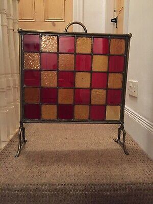 Antique Brass And Glass Fire Screen.