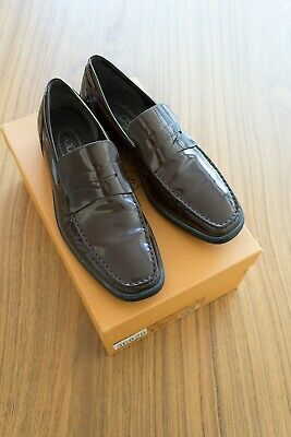 Tod's Men's Vintage Dark Chocolate Brown Patent Leather Quinn Mocassino 9 (US10)
