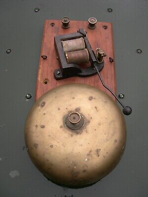 Large Victorian Brass Electric Bell On Wooden Plaque, Working, Railway, Servants