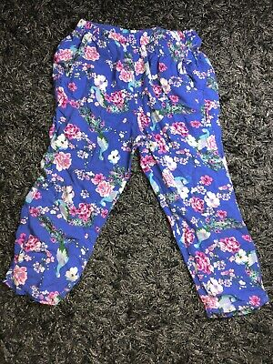 Girls Floral Blue Cotton Trousers Age 3 Years