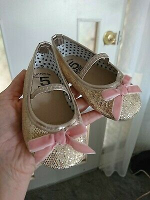 Girls Size 5 Gold Glitter Mary Jane Shoes Dress Up, Costume, Ocassion.