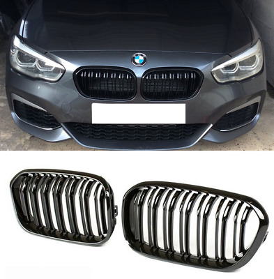 BMW F20 F21 LCI facelift 15 on gloss shine black kidney front grilles twin spoke