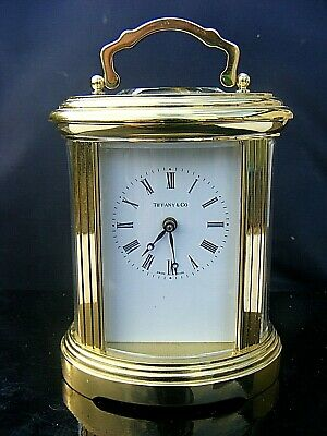 """TIFFANY AND CO OVAL CARRIAGE CLOCK 1754 11 JEWELS 6"""" inches"""