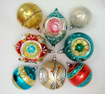 Antique Large Glass Christmas Ornaments Lot- Germany- Indents- Hand Painted-8pcs
