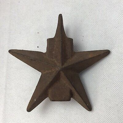 """VTG Fence Topper STAR Texas cast iron topper 4.75"""" square end 18oz RUSTY"""