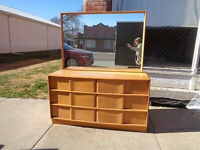 Heywood Wakefield Furniture bed frame and dresser with mirror champagne