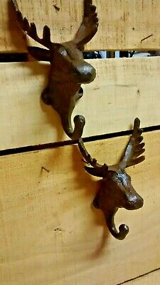 2 Cast Iron MOOSE Towel/Coat Hook Hat Hook Key Rack Ranch Hunting Camp Decor