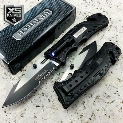 "8"" EDC Black MULTI TOOL Spring Assisted Open LED Tactical Rescue Pocket Knife"